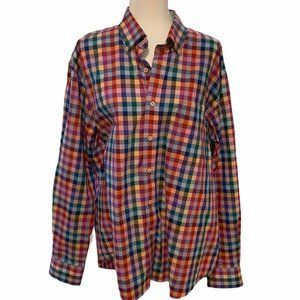 Alan Flusser Button Down Multicolor Check Shirt XL